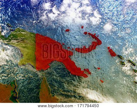 Papua New Guinea On Illustrated Globe