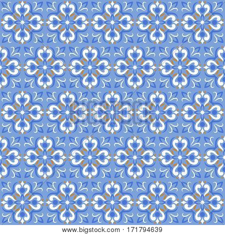 Tile print or ceramic texture seamless mosaic blue vector pattern. Vintage background tile on floral style illustration
