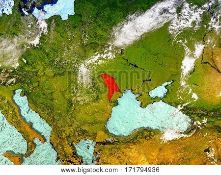 Moldova On Illustrated Globe