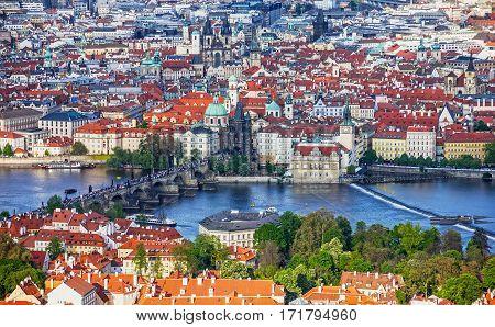 Prague panoramic view - Charles bridge, Czech Republic. River Vltava