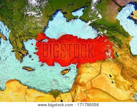 Turkey On Illustrated Globe