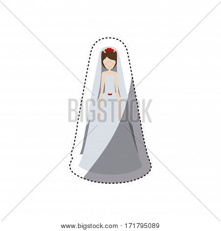 people woman with wedding dress icon, vector illustration image