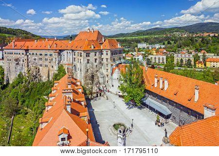 Cesky Krumlov castle building in Czech Republic.