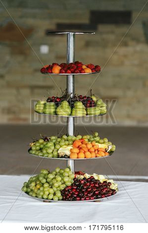 Fruit Stand Table At Luxury Wedding Reception Closeup