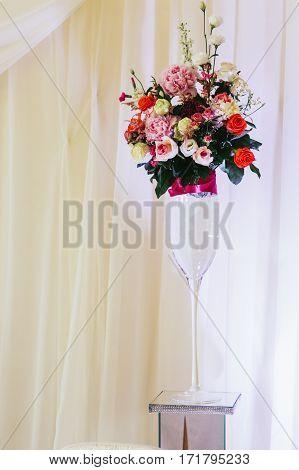 Beautiful Fresh Floral Centerpiece Bouquet At Wedding Reception