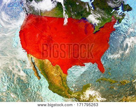 Usa On Illustrated Globe