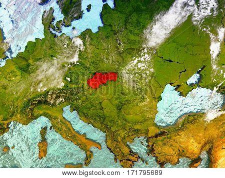 Slovakia On Illustrated Globe