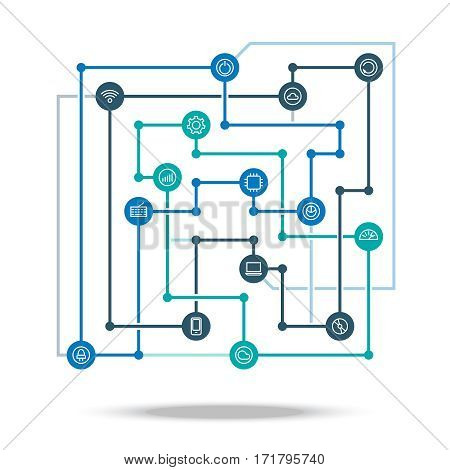 Technology connected network concept vector illustration. Technological industry integration scheme isolated on white background. Connection graphic digital