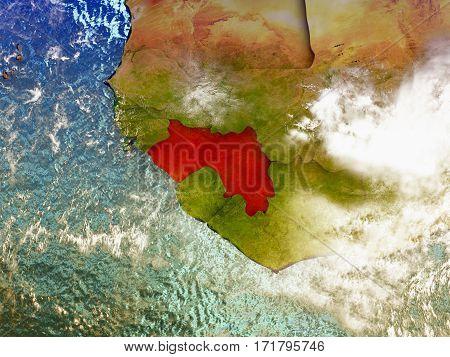 Guinea On Illustrated Globe