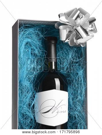 St. Valentines Day concept. Wonderful gift box with wine bottle in decorative blue sisal