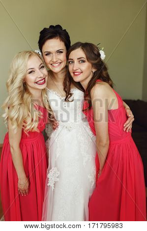 Beautiful Brunette Bride Posing With Two Sexy Bridesmaids