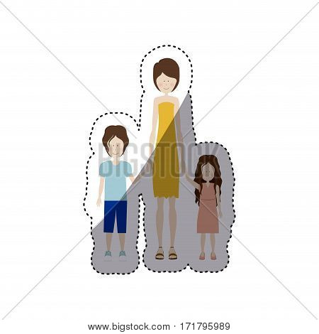 people woman with her children icon, vector illustration design