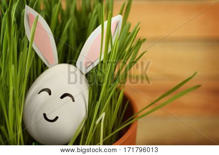 Decorated Easter egg in pot with grass on wooden background