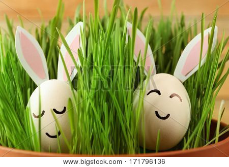 Easter eggs with decor ears in grass, closeup