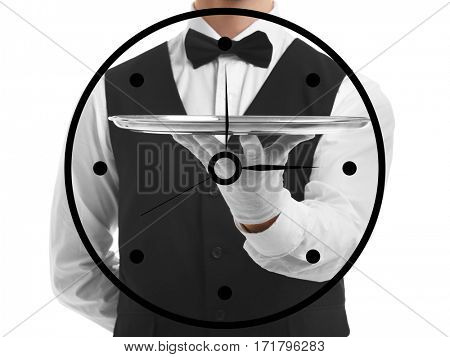 Time concept. Waiter holding tray on white background