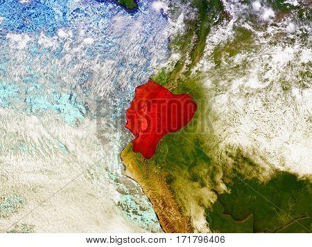 Ecuador On Illustrated Globe