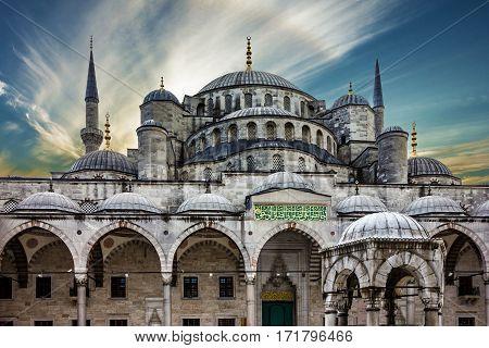 Blue mosque Sultanahmet building in Istanbul, Turkey