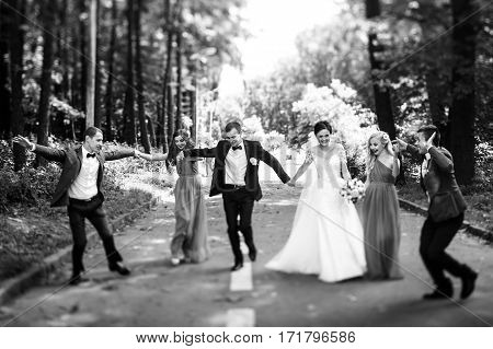 Newlyweds With Groomsmen & Bridesmaids Having Fun Outdoors