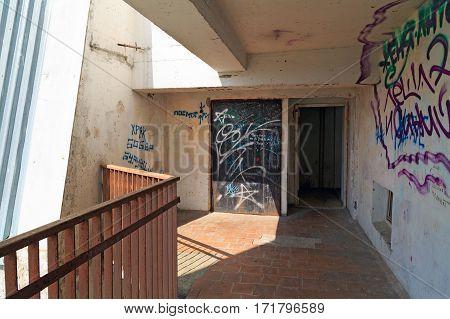 BALASHIKHA/ RUSSIA - APRIL 29, 2014: Graffiti on the walls of a multistory residential building. City Balashikha, Moscow region, Russia.