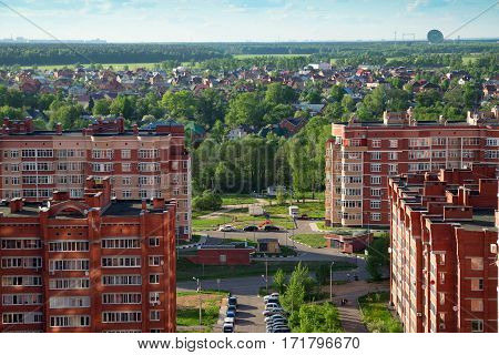 Aerial view of the new buidlings and cottage village Nikolsko-Trubetskoje in city Balashikha. Moscow region, Russia