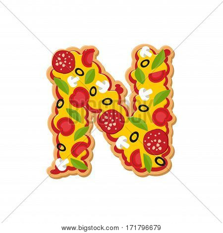 Letter N Pizza Font. Italian Meal Alphabet. Lettring Fast Food