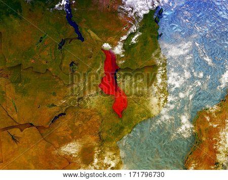 Malawi On Illustrated Globe
