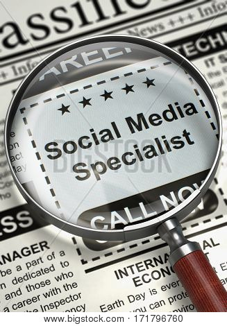 Social Media Specialist. Newspaper with the Jobs. Column in the Newspaper with the Classified Ad of Social Media Specialist. Concept of Recruitment. Selective focus. 3D Illustration.