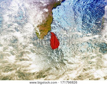 Sri Lanka On Illustrated Globe