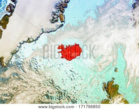 Iceland On Illustrated Globe