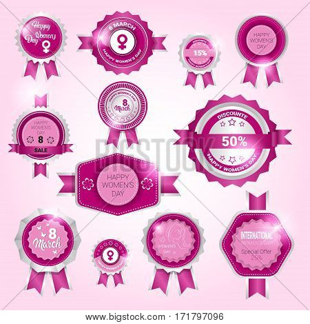 8 March International Women Day Sale Shopping Discount Tag Set Flat Vector Illustration