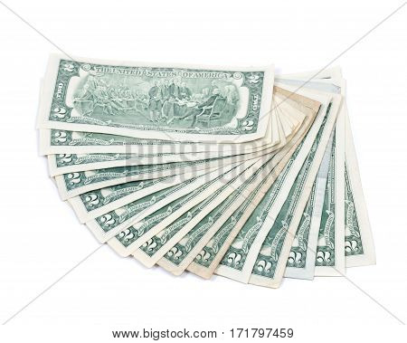 Fan of two dollar bills isolated on white background