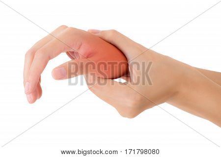 woman holding her beautiful healthy wrist and massaging in pain area with red highlighted Isolated on white background.