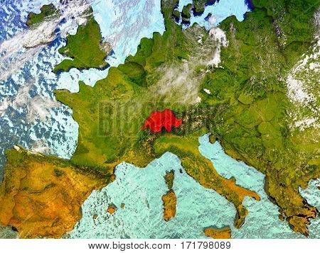Switzerland On Illustrated Globe