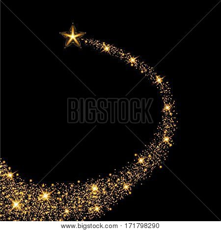 Glow gold star with trail. Light effect. Vector illustration
