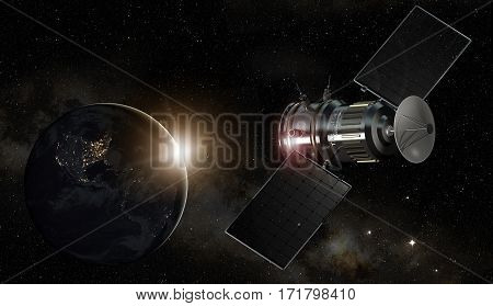 satellite orbiting the planet earth 3d illustration - elements of this image furnished by NASA