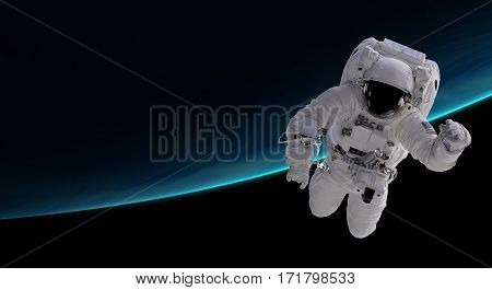 astronaut orbiting the blue planet 3d illustration - elements of this image furnished by NASA