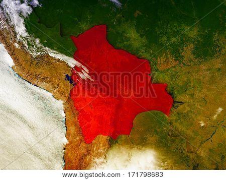Bolivia On Illustrated Globe