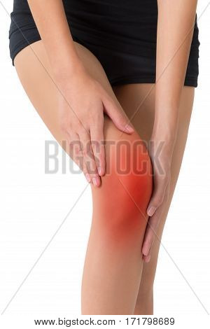 woman holding her beautiful healthy long leg with massaging knee in pain area with red highlighted Isolated on white background.