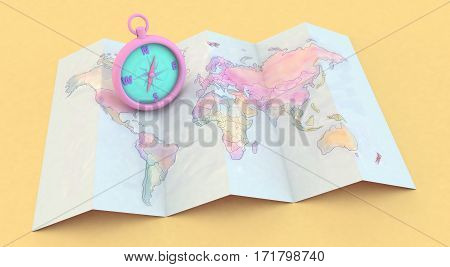 3D Rendering Colorful Maps And Compass On Yellow Background
