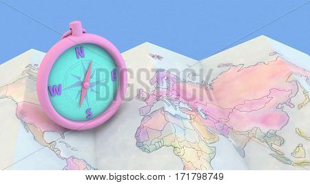 3D Rendering Colorful Maps And Compass On Blue Background