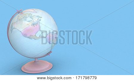 3D Rendering Colorful Globe Sphere On Blue Background