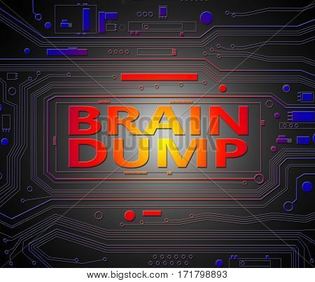 Digital artwork depicting printed circuit board components with a brain dump concept.
