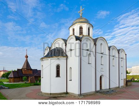 VITEBSK BELARUS - JULY 13 2016: Annunciation Church and Church of Holy Prince Alexander Nevsky Vitebsk Belarus