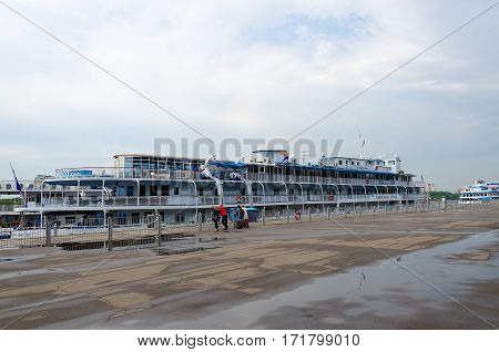 MOSCOW RUSSIA - JULY 18 2016: Unidentified passengers are awaiting landing on cruise ships