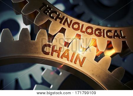 Technological Chain - Concept. Technological Chain on Mechanism of Golden Metallic Cog Gears with Glow Effect. 3D Rendering.