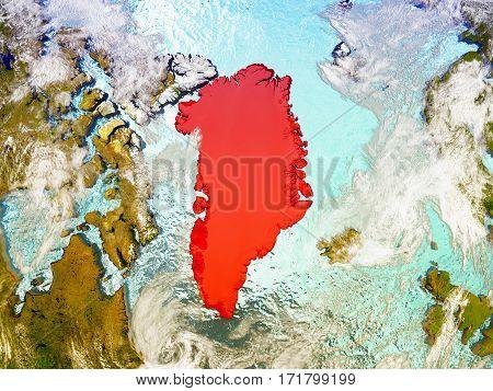 Greenland On Illustrated Globe