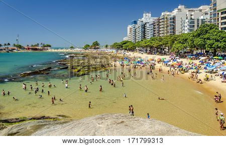 GUARAPARI BRAZIL - DECEMBER 28th 2016 ; CASTANHEIRAS BEACH It is outlined in its full extent by huge chestnut trees origin of its name.
