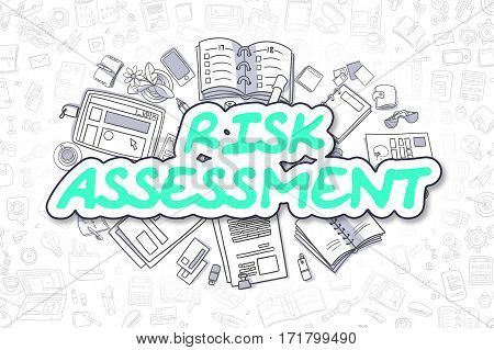Cartoon Illustration of Risk Assessment, Surrounded by Stationery. Business Concept for Web Banners, Printed Materials.