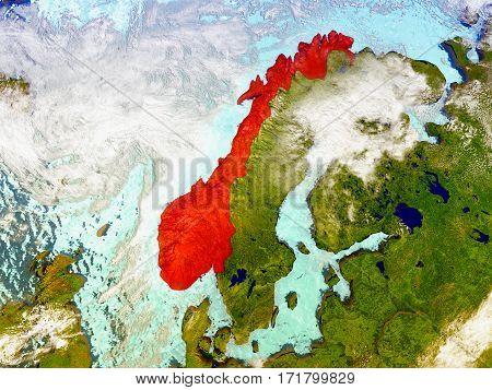 Norway On Illustrated Globe