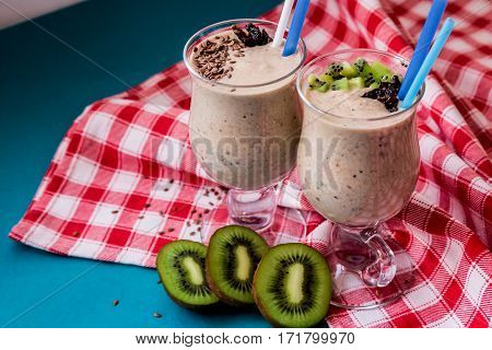 Protein Shake Decorated With Spices And Fruit